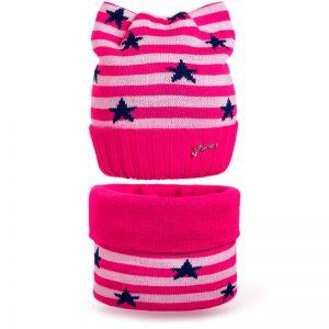 Комплект шапка и шарф снуд вязанный Звезда №4