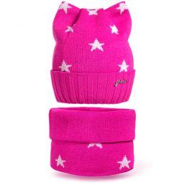 Комплект шапка и шарф снуд вязанный Звезда №5
