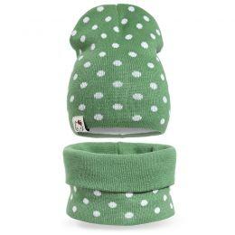 Комплект шапка и шарф снуд вязанный для девочки