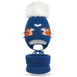 Комплект шапка и шарф снуд вязанный для девочки Лисички