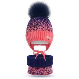 Комплект шапка и шарф снуд вязанный для девочки Снежок