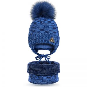 Комплект шапка и шарф снуд вязанный для мальчика Орнамент