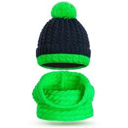 Комплект шапка и шарф снуд вязанный для мальчика Помпон