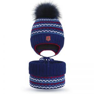 Комплект шапка и шарф снуд вязанный для мальчика Якорь