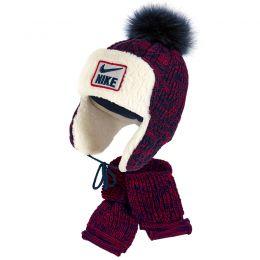 Комплект шапка и шарф вязанный для мальчика