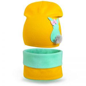 Комплект шапка и шарф-снуд  для девочки Хвостик