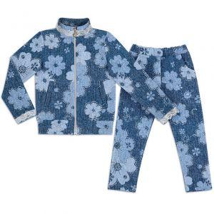 Костюм для девочки Цветы на синем