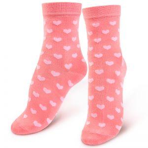 Носки женские Сердечки коралловый