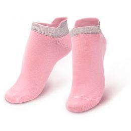 Носки женские короткие с люрексом розовый