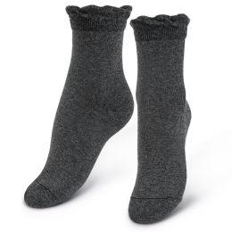 Носки женские с ажурным бортом серый