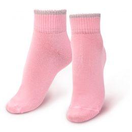 Носки женские укороченные с люрексом розовый