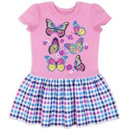 Платье для девочки Бабочки на розовом