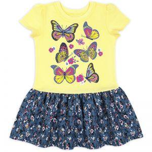 Платье для девочки Бабочки на желтом