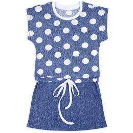 Платье для девочки Горох на синем