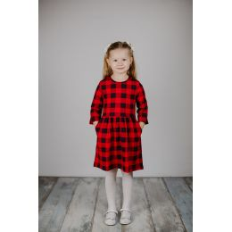 Платье для девочки Клетка красный