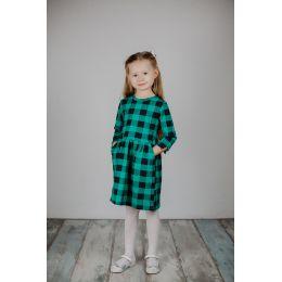 Платье для девочки Клетка зеленый