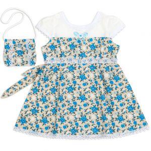 Платье для девочки с сумочкой лён №2