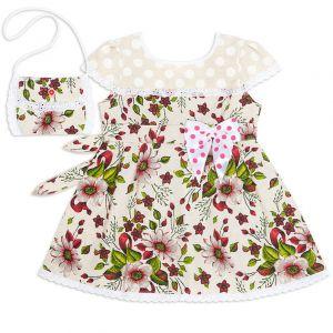 Платье для девочки с сумочкой лён №3