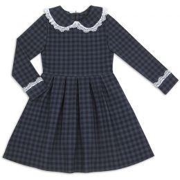 Платье школьное для девочки Клетка серый
