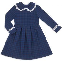 Платье школьное для девочки Клетка синий