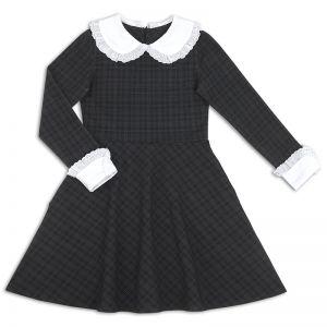 Платье школьное для девочки Воротничок серое