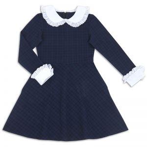 Платье школьное для девочки Воротничок синее