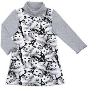 Платье водолазка для девочки Котята