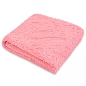 Плед детский вязаный синтепон розовый