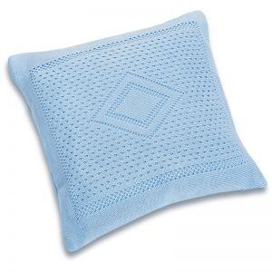 Подушка детская вязаная голубая