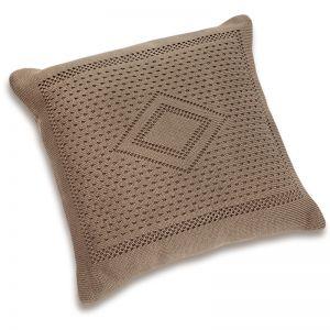 Подушка детская вязаная коричневая