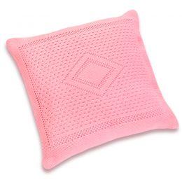 Подушка детская вязаная розовая