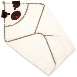 Полотенце-уголок детское для купания Собака белое