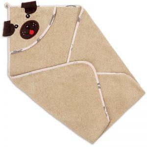 Полотенце-уголок детское для купания Собака бежевое