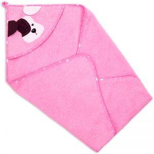Полотенце-уголок детское для купания Собака розовое