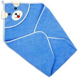 Полотенце-уголок детское для купания Собака синий