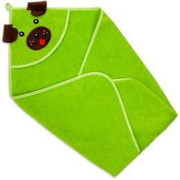 Полотенце-уголок детское для купания Собака зеленое