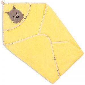 Полотенце-уголок детское для купания Собака желтое