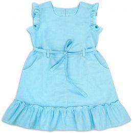 Сарафан для девочки Лён №2 голубой