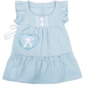 Сарафан льняной для девочки голубой