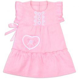 Сарафан льняной для девочки розовый