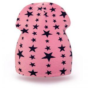 Шапка детская трикотаж звезда розовый