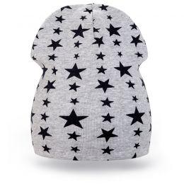 Шапка детская трикотаж звезда серый