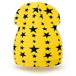 Шапка детская трикотаж звезда желтый