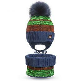 Шапка и шарф снуд вязанный для мальчика №4