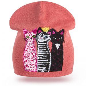 Шапка трикотажная для девочки Кошки №2