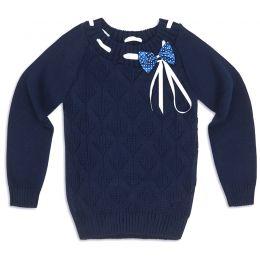 Свитер для девочки Бантик синий
