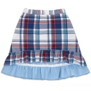 Юбка для девочки Шотландка/Лён